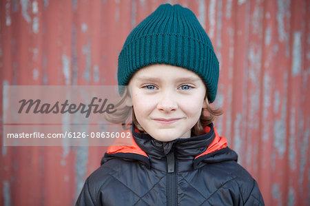 Sweden, Portrait of boy (8-9) in autumn