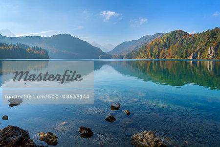 Scenic of Lake Alpsee in Autumn, Fussen, Swabia, Allgau, Bavaria, Germany