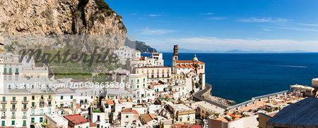 Scenic overview of the town of Atrani with the Church of Santa Maria Maddalena, Amalfi Coast, Italy