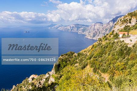 Hiking trail of Sentiero degli Dei (Path of the Gods) with vstas of the Amalfi Coast and Tyrrhenian Sea, Italy