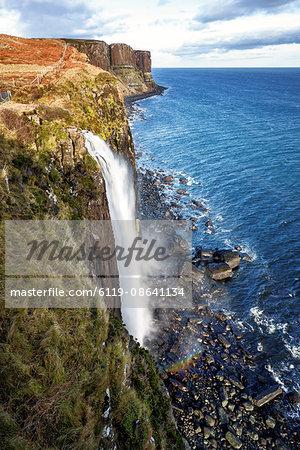 Mealt Falls and Kilt Rock, Isle of Skye, Inner Hebrides, Scotland, United Kingdom, Europe