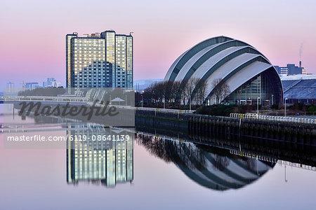 Sunrise at The Clyde Auditorium (the Armadillo), Glasgow, Scotland, United Kingdom, Europe