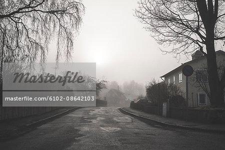 Village in fog