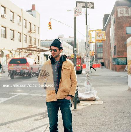 USA, New York State, New York City, Brooklyn, Man standing on street