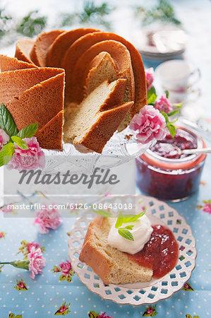 Sweden, Almond cake with strawberry jam