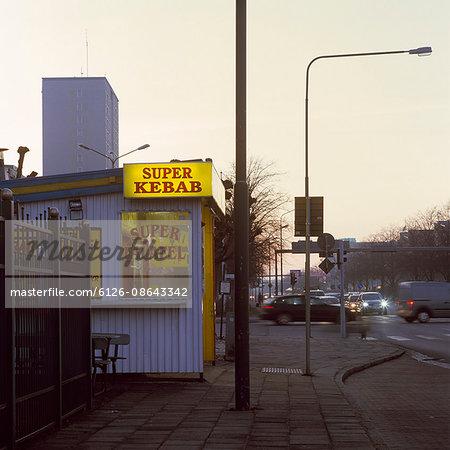 Sweden, Skane, Malmo, Picture of kebab bar