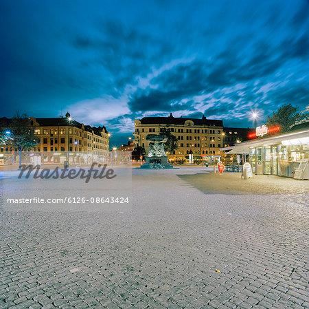 Sweden, Skane, Malmo, Mollevangen, Cityscape at winter night