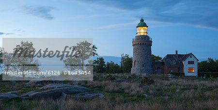Denmark, Bornholm, Allinge, Hammeren Lighthouse at evening