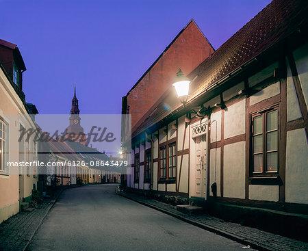 Sweden, Skane, Ystad, City street at night