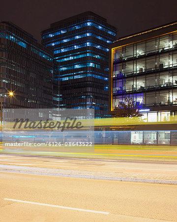 Sweden, Skane, Malmo, Neptunigatan, City illuminated at night