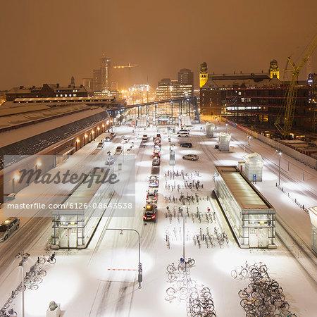 Sweden, Skane, Malmo, Railroad station at night