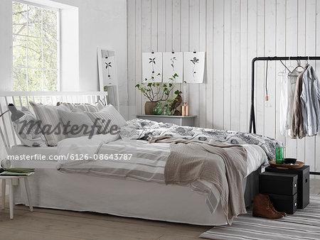Sweden, Vastergotland, White modern bedroom