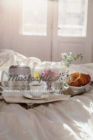 Sweden, Breakfast tray on bed