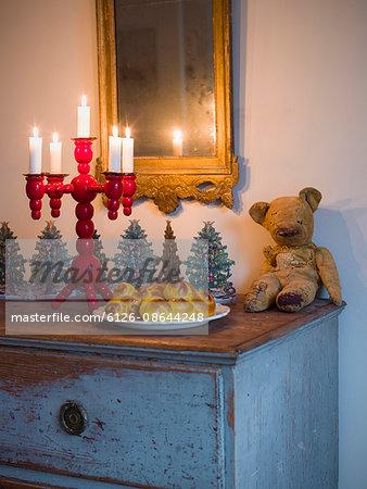 Sweden, Saffron buns, candlestick holder and old teddy bear