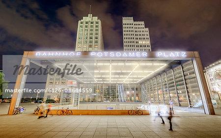 Germany, Berlin, Potsdamer Platz, Illuminated canopy of Berlin Potsdamer Platz station