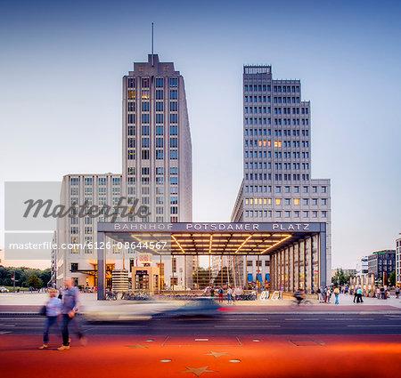 Germany, Berlin, Potsdamer Platz, Entrance to Berlin Potsdamer Platz station