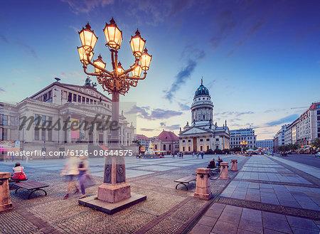 Germany, Berlin, Gendarmenmarkt, Illuminated lantern on city square