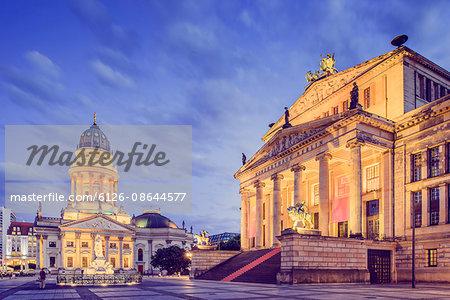 Germany, Berlin, Gendarmenmarkt, Illuminated building facades
