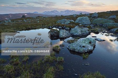 Sweden, Jamtland, Are Kommun, Gasen, Sylan Mountains at dawn