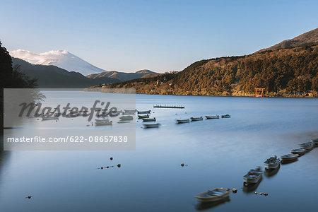 View of Mount Fuji from Lake Ashi in the morning, Hakone, Japan