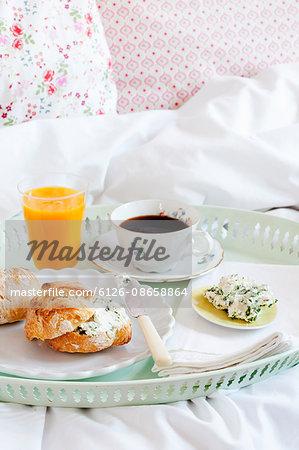 Breakfast on tray in bedroom
