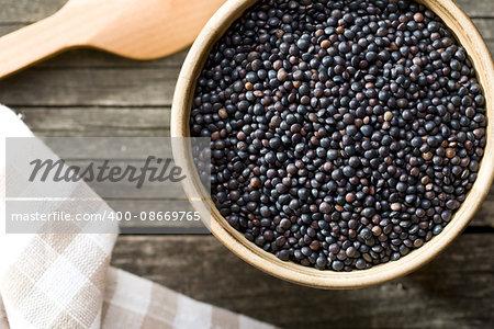 Beluga. Black lentil. Top view.