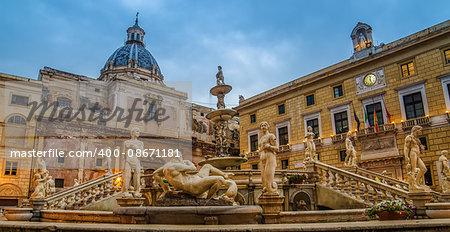 Palermo, Sicily, Italy: Piazza Pretoria in rainy early morning
