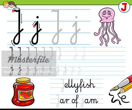 Cartoon Illustration of Writing Skills Practice with Letter J Worksheet for Children