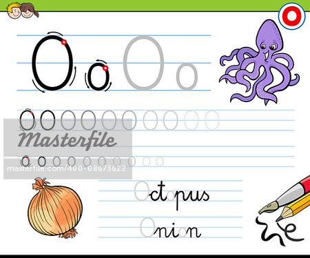 Cartoon Illustration of Writing Skills Practice with Letter O Worksheet for Children