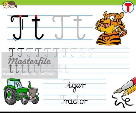 Cartoon Illustration of Writing Skills Practice with Letter T Worksheet for Children