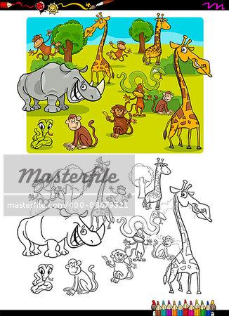 Cartoon Illustration of Wild Safari Animal Characters Coloring Book