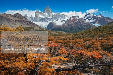 South America, Patagonia, Argentina, Santa Cruz, El Chalten, Fitz Roy at Los Glaciares National Park