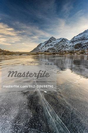 Bernina Pass, Switzerland. The iced white lake at Bernina Pass