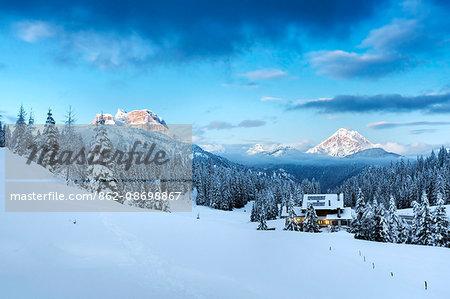 Europe, Italy, Veneto, Belluno. Winter at the Duran pass, Dolomites