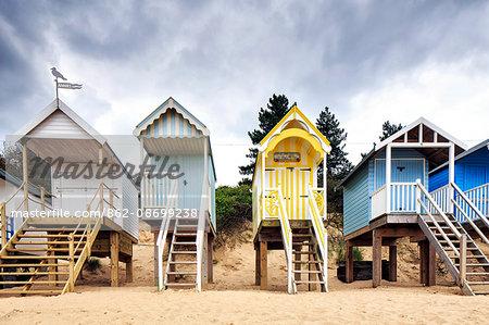 England, Norfolk, Wells next the sea. Beach huts at Holkham.