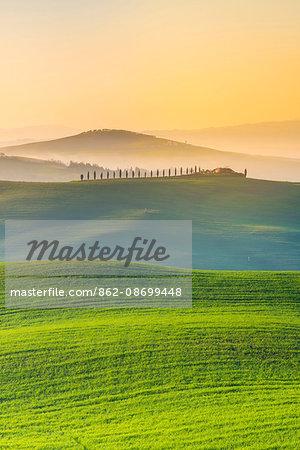 Valdorcia, Siena, Tuscany, Italy. Rolling hills at sunrise.