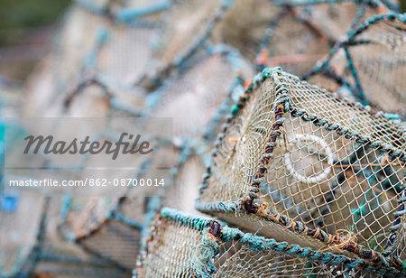 Scotland, Highland, Plockton. Detail of lobster pots in Plockton village.