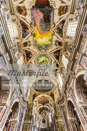 Interior of Ceiling in Church of Saint Mary of Gesu (Chiesa del Gesu) in Palermo, Sicily, Italy