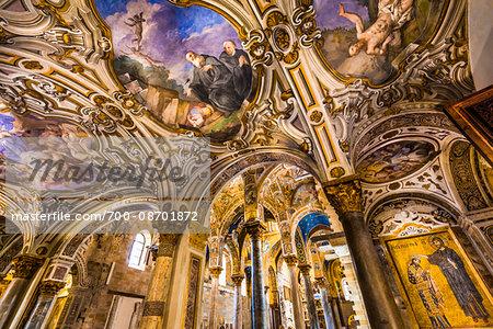 Interior of Church of Santa Maria dell'Ammiraglio, also known as Martorana in Palermo, Sicily, Italy