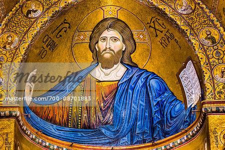 Mosaic in Cattedrale di Monreale in Monreale, Palermo, Sicily, Italy
