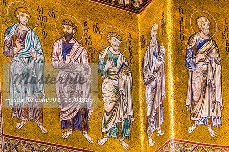 Mosaics at Cattedrale di Monreale in Monreale, Palermo, Sicily, Italy