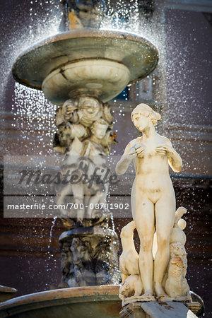 Close-up of a female statue at the Pretoria Fountain in Piazza Pretoria (Pretoria Square) in the historic center of Palermo in Sicily, Italy