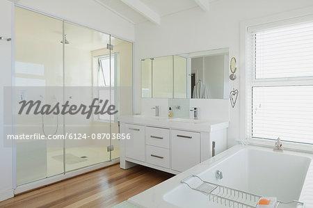 White modern bathroom home showcase interior