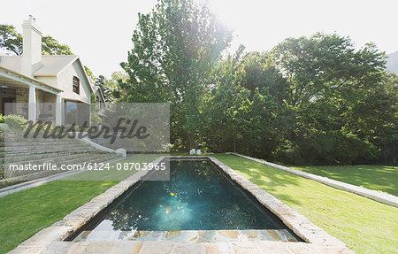 Sunny luxury swimming pool