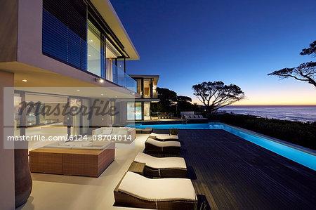 Modern luxury home showcase patio with illuminated swimming pool at dusk