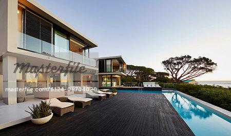 Modern luxury home showcase deck and swimming pool