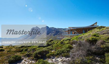 Modern luxury home showcase exterior under sunny blue sky