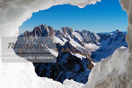 Europe, France, Haute Savoie, Rhone Alps, Chamonix, ice cave on Aiguille du Midi