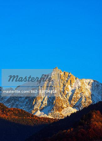 Europe, France, Haute Savoie, Rhone Alps, Chamonix, autumn scenery below Aiguille du Midi