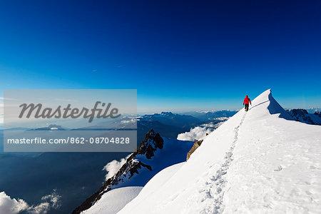 Europe, France, Haute Savoie, Rhone Alps, Chamonix, Mont Blanc Tacul ridge